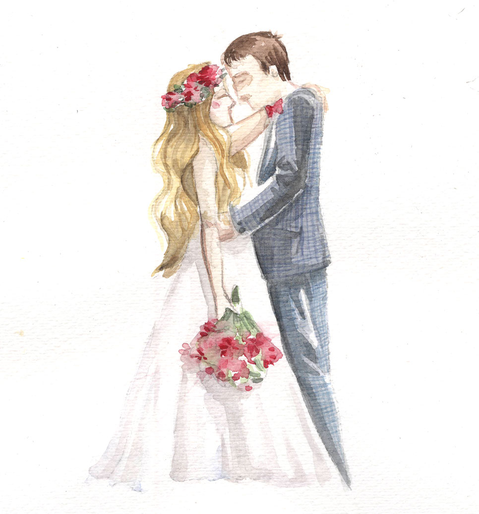Wedding Announcements - Watercolors - lusym.com, illustrated originals